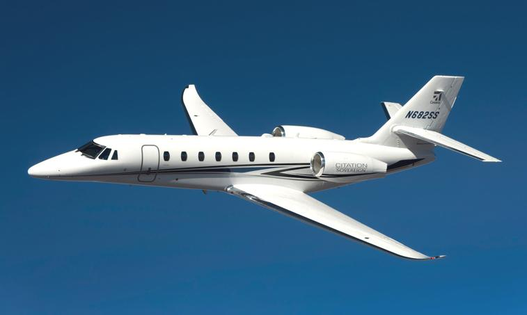 The Citation Sovereign is Cessna's version of what a business jet should be: comfortable, high performing, and economical. The strongest feature of the Sovereign is its range; it has coast-to-coast capabilities, like large jets, but still retains the features that make midsize private jets so advantageous. It can take off in under 4,000 feet and can cruise at around .75 Mach (458 knots).